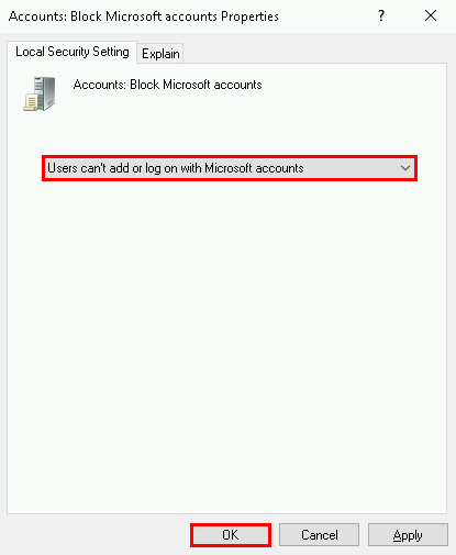 Disable Microsoft Account with GPO