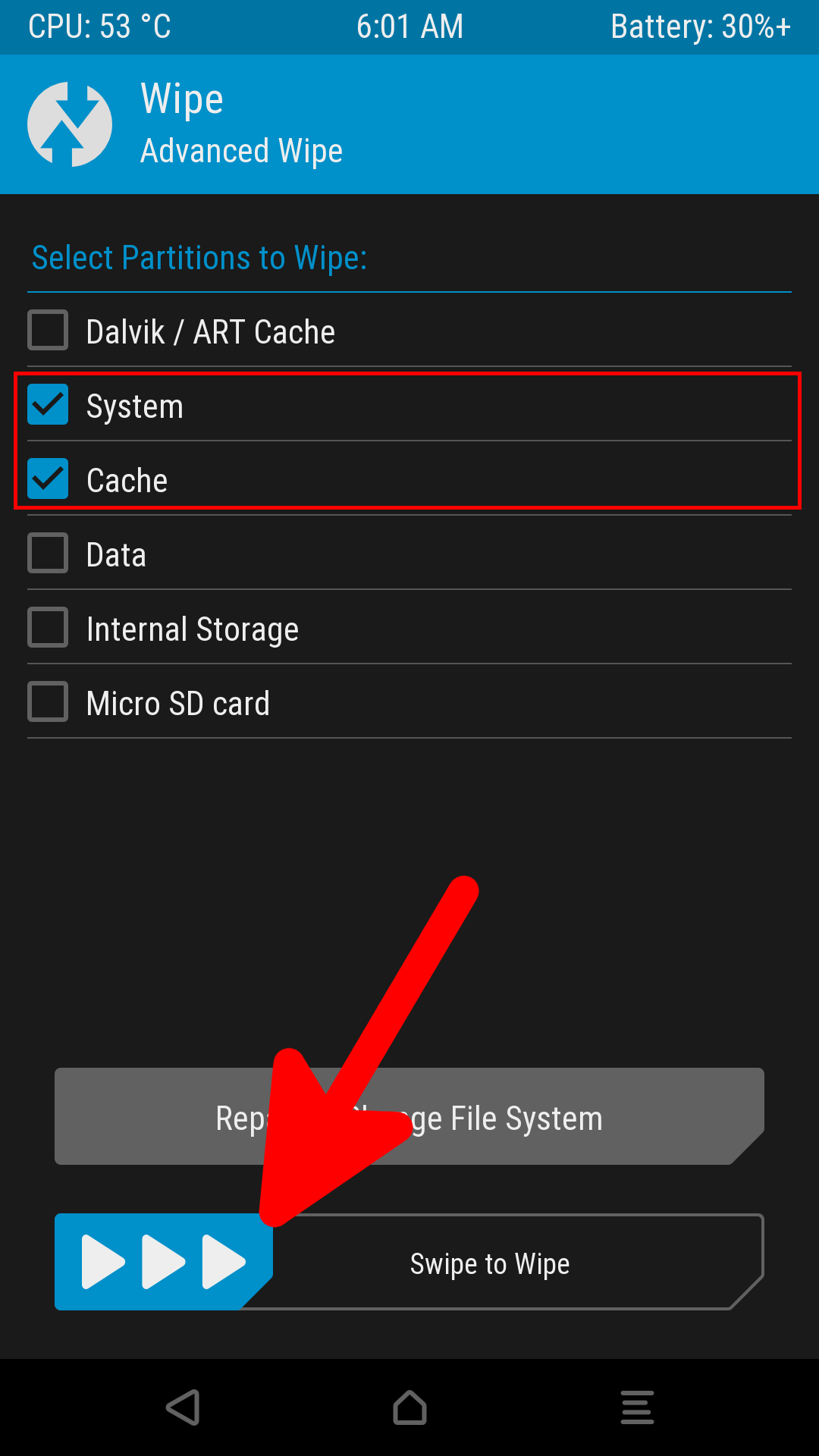 TWRP System Cache Advanced Wipe