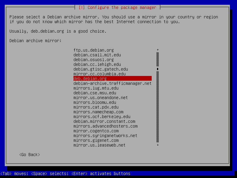 debian netinstall configure package manager
