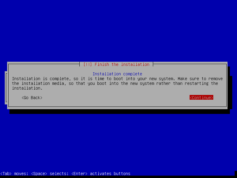 debian netinstall finish installation