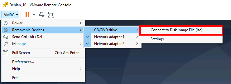 VMware Remote Console connecting ISO