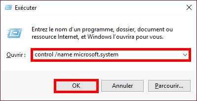 Windows | Démarrer, exécuter control /name microsoft.system