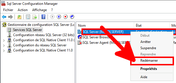 MSSQL | SQL Server Configuration Manager, redémarrer le service SQL Server.