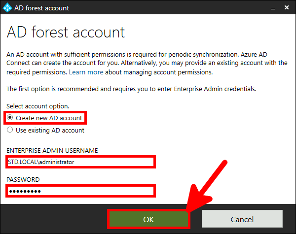 Azure AD Connect Installation | AD forest account.
