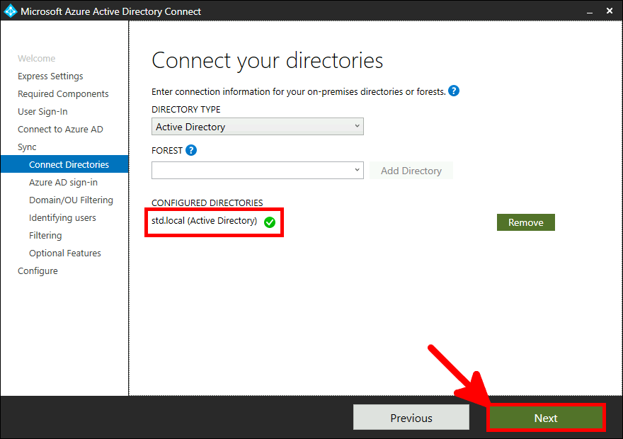 Azure AD Connect Installation | Connect your directories.