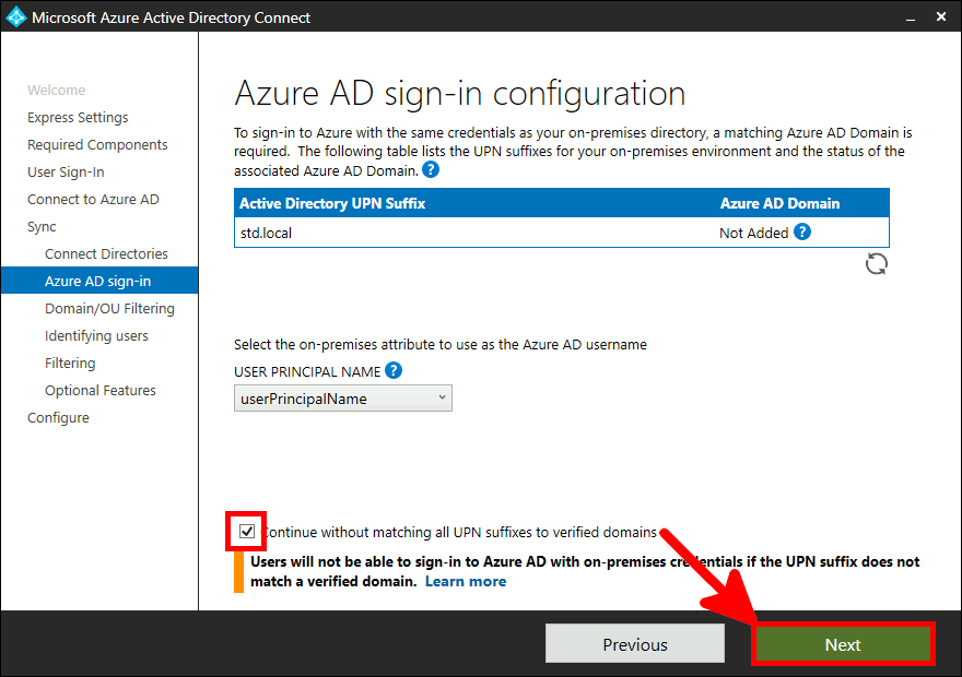 Azure AD Connect Installation | Azure AD sign-in configuration.