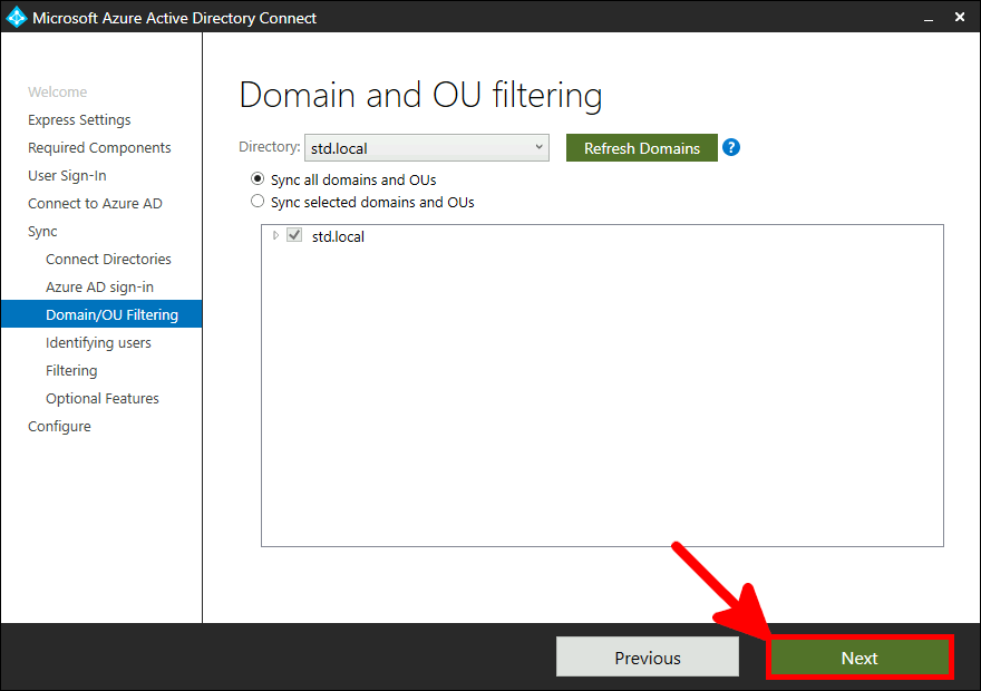 Azure AD Connect Installation | Domain and OU filtering.