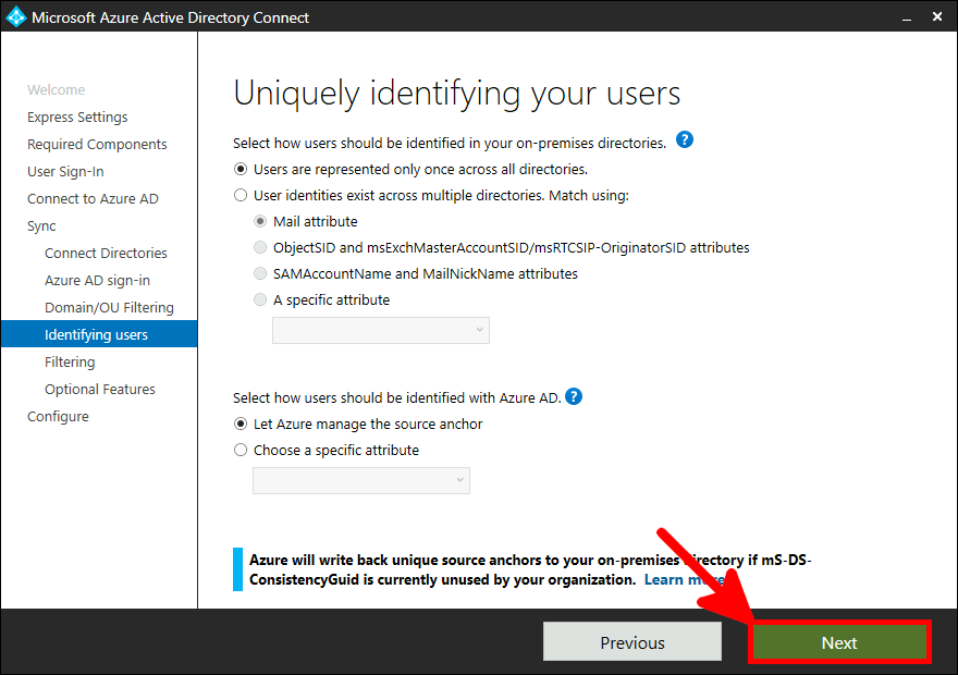 Azure AD Connect Installation | Uniquely identifying your users.