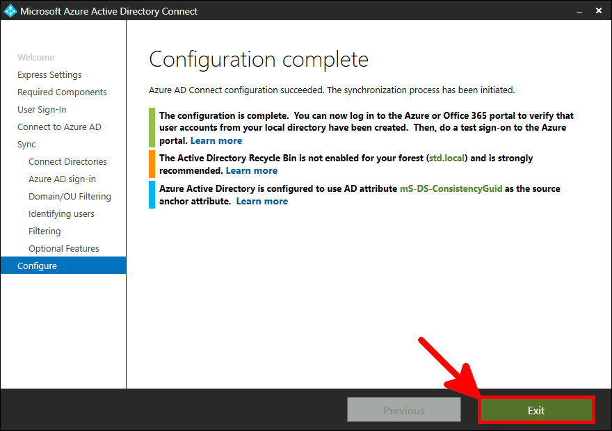 Azure AD Connect Installation | Configuration complete.