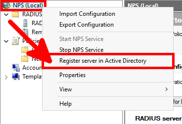 NPS Console | Register server in active directory